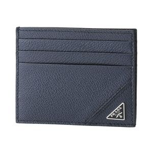 Prada Blue Leather Cash and Card Slim Wallet